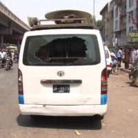 Shooting on DSNG van of a private news channel of Pakistan