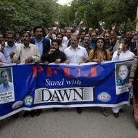 Journalists stage rallies to show solidarity with Dawn